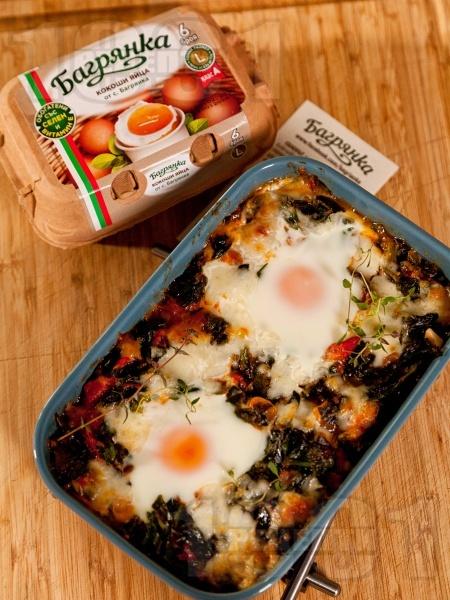 Спанак с яйца печен на фурна - снимка на рецептата